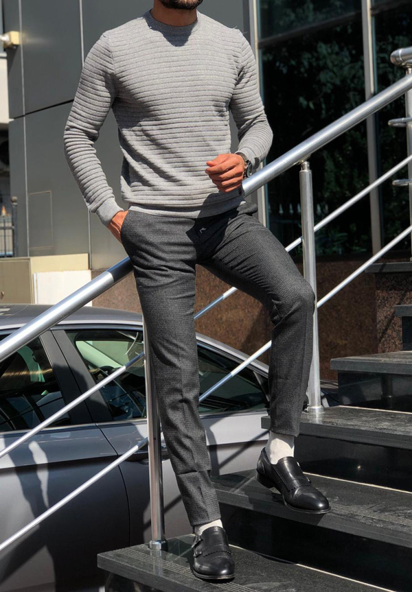 Gray Round Neck Sweater by GentWith.com with Free Shipping
