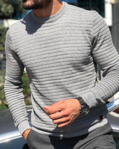 Gray Slim Fit Round Neck Sweater by GentWith.com with Free Shipping