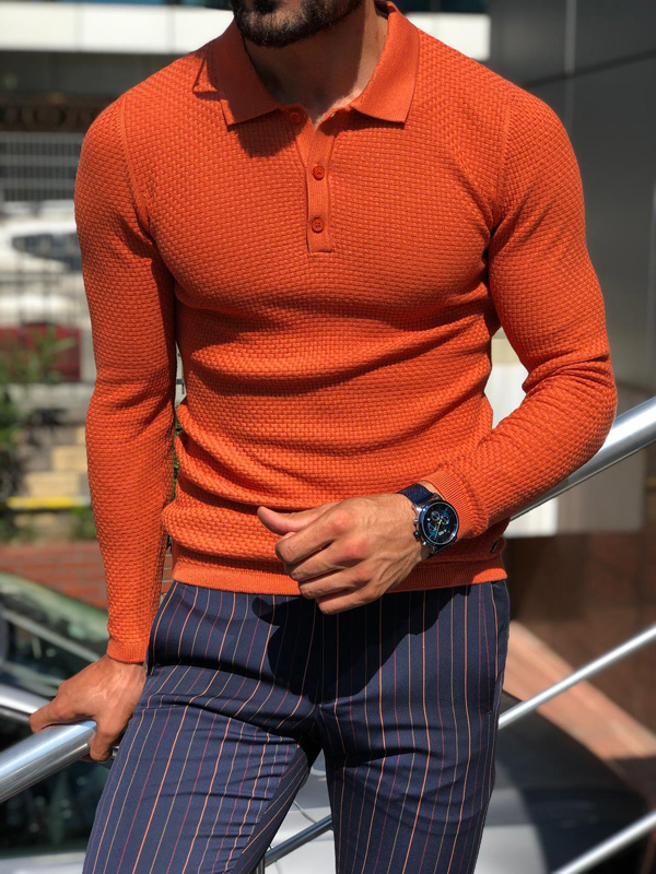 Orange Slim Fit Collar Sweater by GentWith.com with Free Shipping