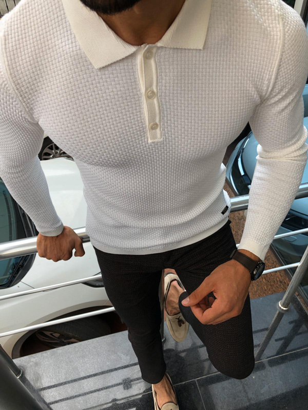White Collar Sweater by GentWith.com with Free Shipping