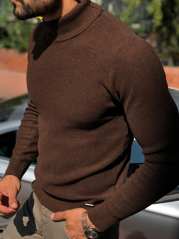 Brown Mock Neck Sweater by GentWith.com with Free Shipping