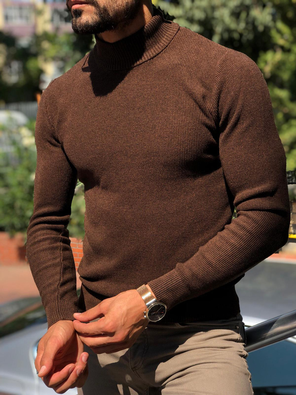 Brown Slim Fit Mock Neck Sweater by GentWith.com with Free Shipping