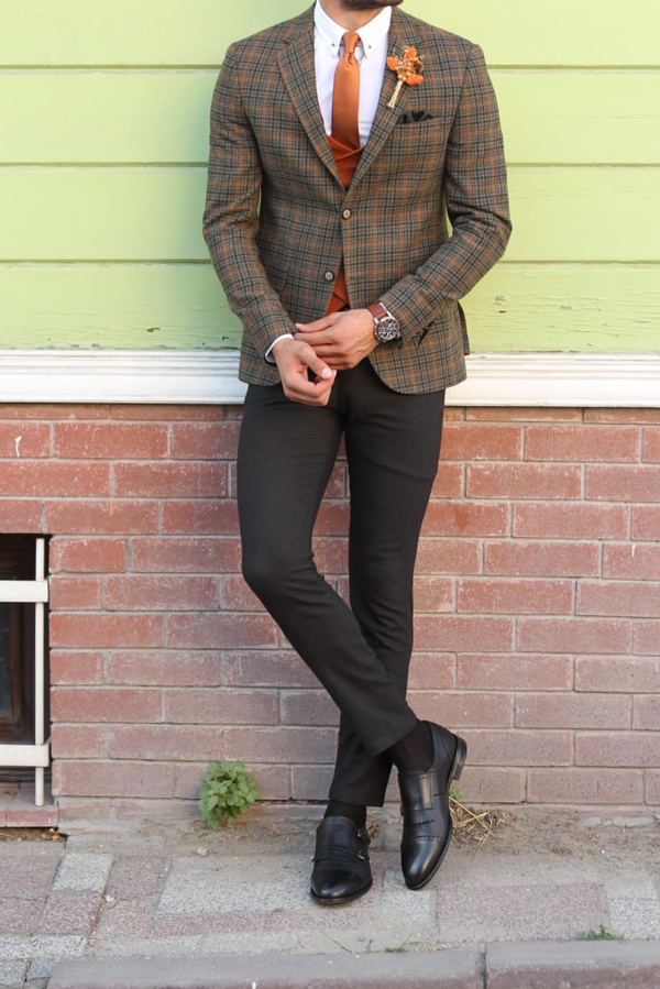 Green Slim Fit Prince of Wales Plaid check Wool Suit by GentWith.com with Free Shipping