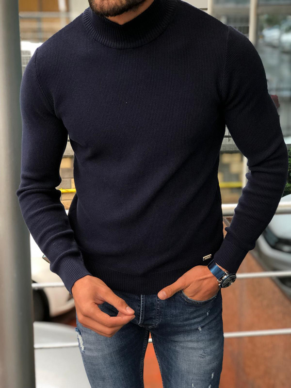 Navy Blue Slim Fit Mock Neck Sweater by GentWith.com with Free Shipping