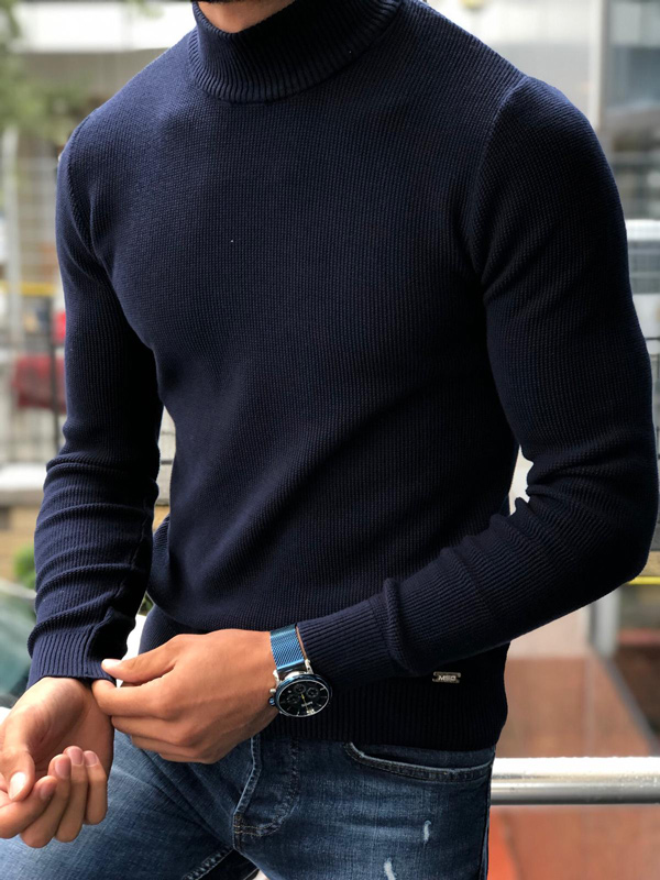 Navy Blue Mock Neck Sweater by GentWith.com with Free Shipping