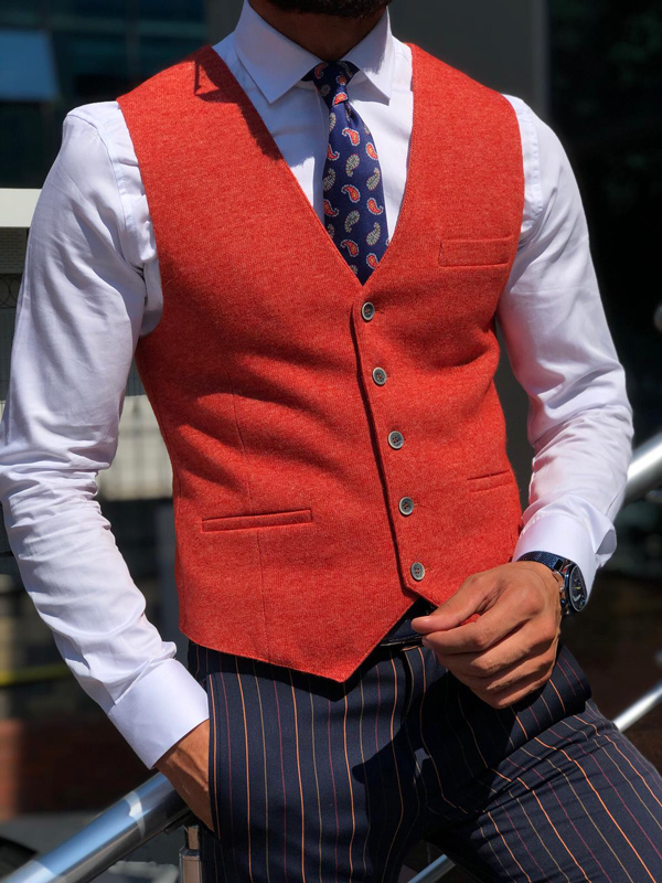 Tile Slim Fit Wool Vest by GentWith.com with Free Shipping