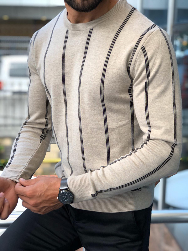 Beige Crew Neck Striped Sweater by GentWith.com with Free Shipping