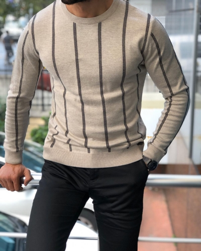 Beige Crew Neck Sweater by GentWith.com with Free Shipping