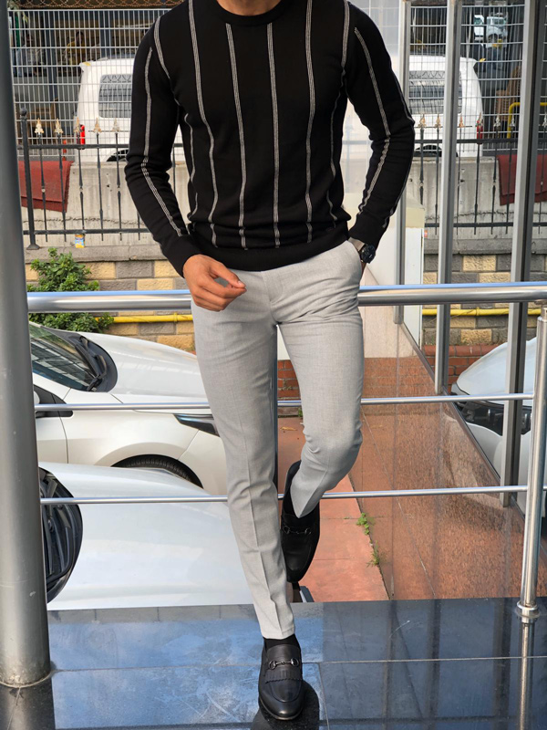 Black Slim Fit Round Neck Sweater by GentWith.com with Free Shipping