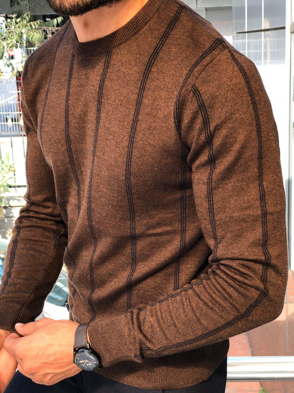 Brown Round Neck Sweater by GentWith.com with Free Shipping