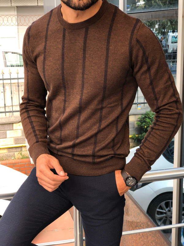 Brown Slim Fit Striped Sweater by GentWith.com with Free Shipping