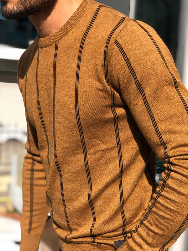 Camel Crew Neck Sweater by GentWith.com with Free Shipping