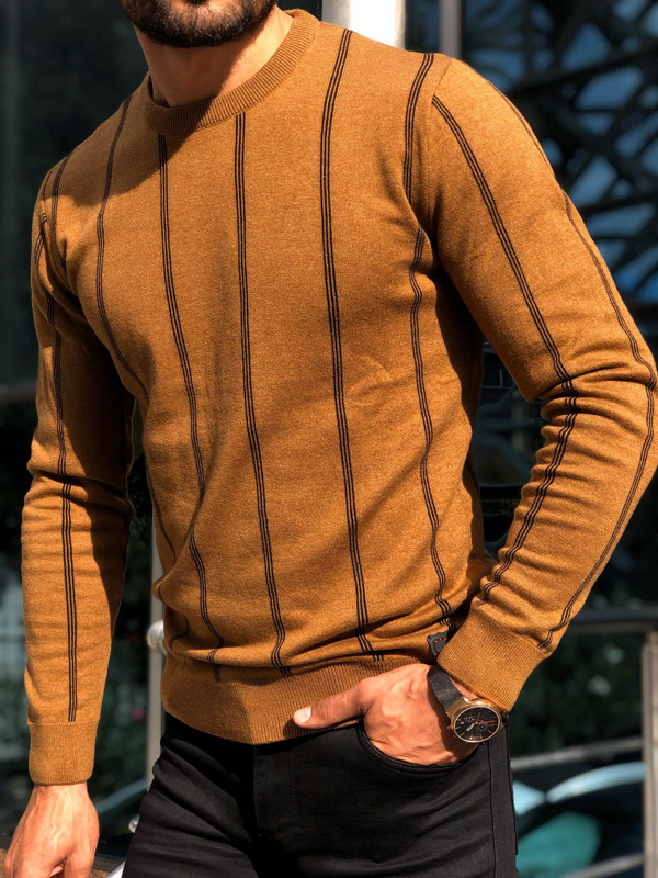 Brown Crew Neck Sweater by GentWith.com with Free Shipping