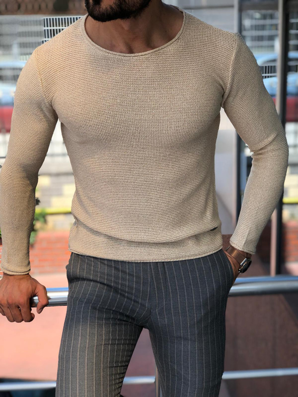 Beige Round Neck Sweater by GentWith.com with Free Shipping