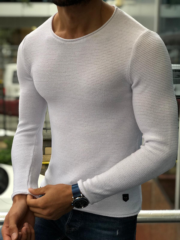 White Round Neck Sweater by GentWith.com with Free Shipping