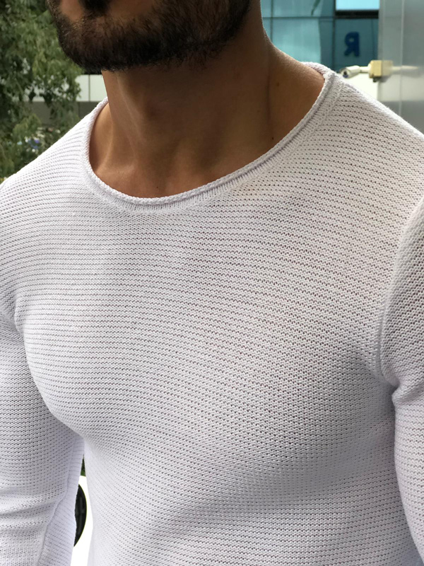 White Slim Fit Crew Neck Sweater by GentWith.com with Free Shipping