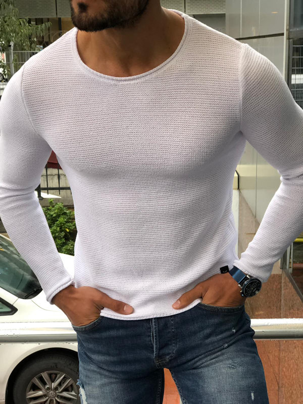 White Slim Fit Round Neck Sweater by GentWith.com with Free Shipping
