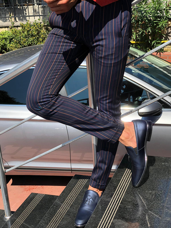 Dark Blue Slim Fit Striped Pants by GentWith.com with Free Shipping