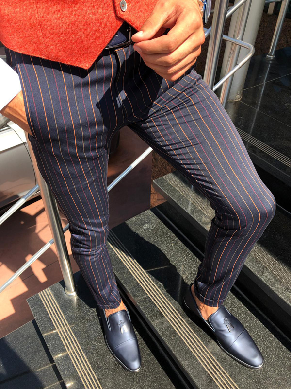 Dark Blue Slim Fit Pinstripe Pants by GentWith.com with Free Shipping