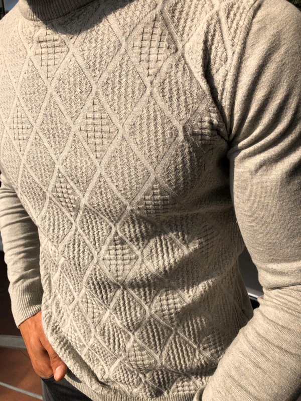 Gray Mock Neck Sweater by GentWith.com with Free Shipping