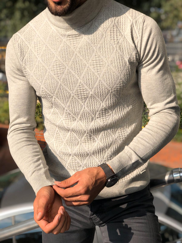 Gray Slim Fit Mock Neck Sweater by GentWith.com with Free Shipping
