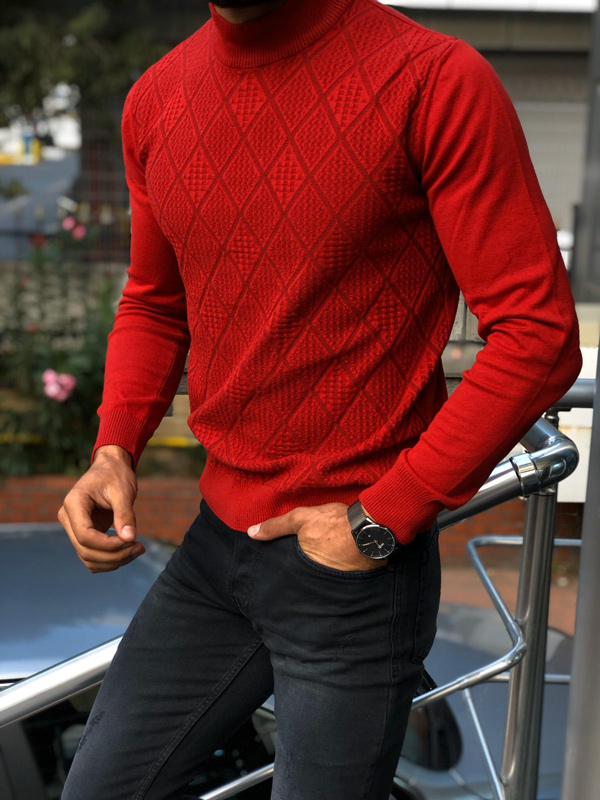 Red Slim Fit Mock Neck Sweater by GentWith.com with Free Shipping