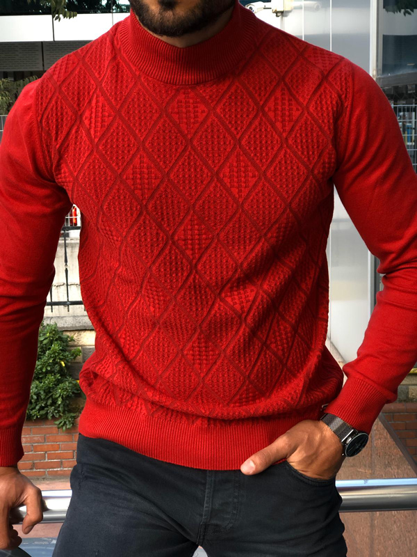 Red Mock Neck Sweater by GentWith.com with Free Shipping