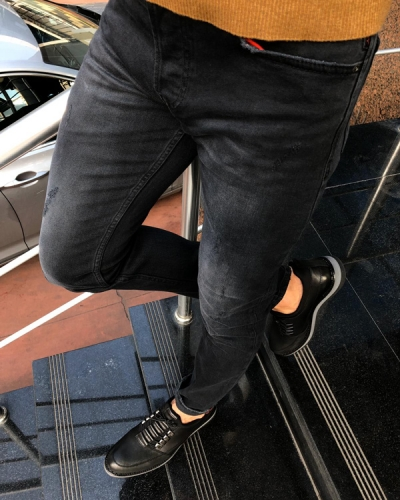 Black Slim Fit Ripped Jeans by GentWith.com with Free Shipping