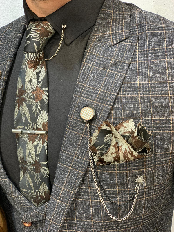 Coffee Slim Fit Plaid Check Wool Suit by GentWith.com with Free Shipping