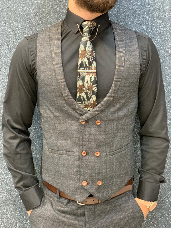 Coffee Prince of Wales Wool Suit by GentWith.com with Free Shipping