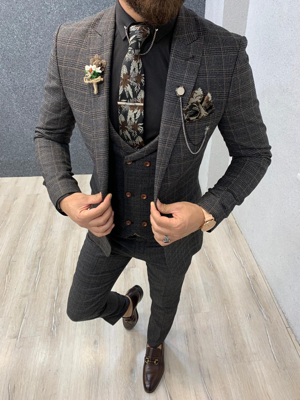 Coffee Slim Fit Prince of Wales Wool Suit by GentWith.com with Free Shipping