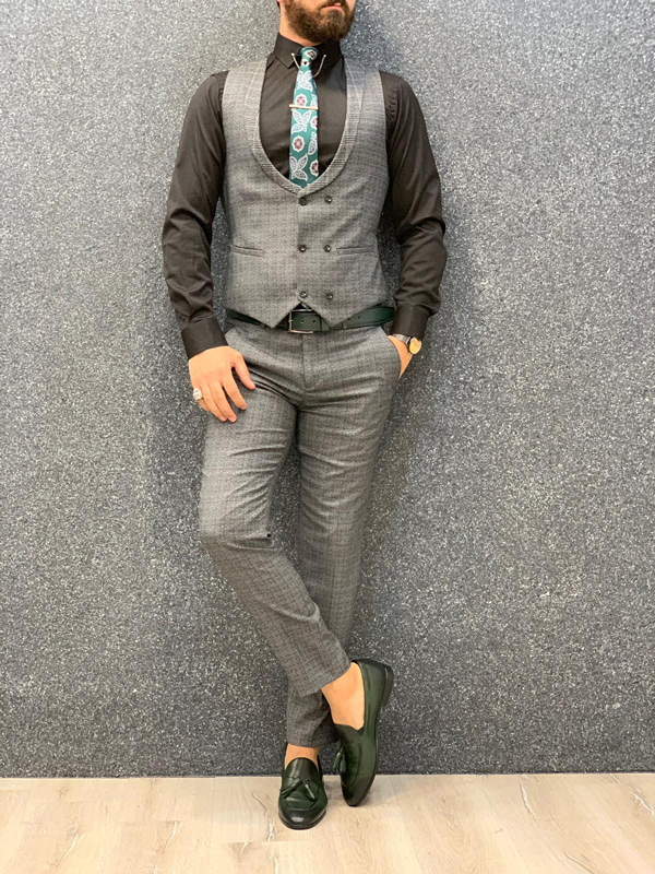 Gray Slim Fit Glen Check Plaid Wool Suit by GentWith.com with Free Shipping