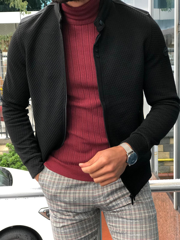 Black Slim Fit Cardigan by GentWith.com with Free Shipping