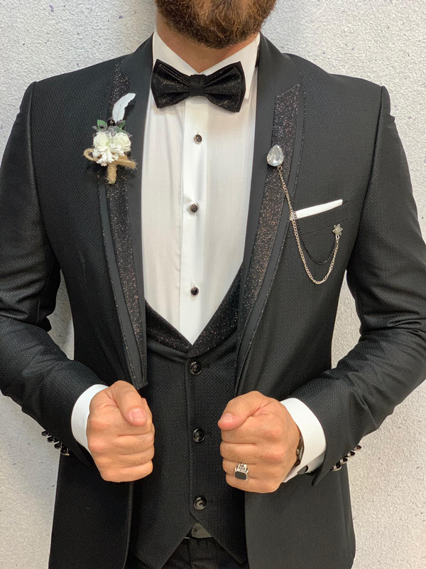 Black Slim Fit Wedding Tuxedo by GentWith.com with Free Shipping