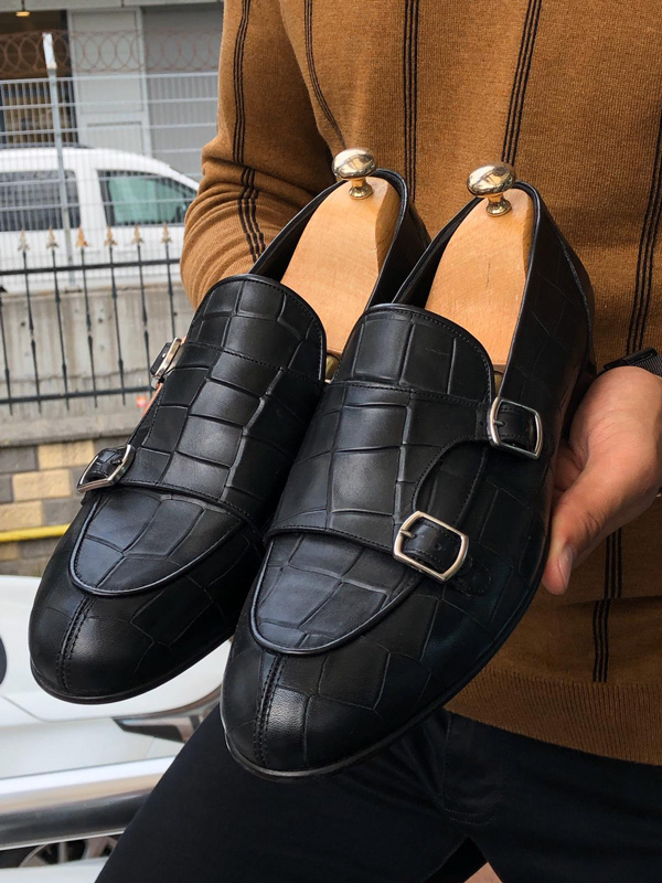 Black Monk Strap Loafer by GentWith.com with Free Shipping