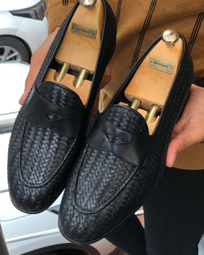 Black woven Leather Loafer by GentWith.com with Free Shipping