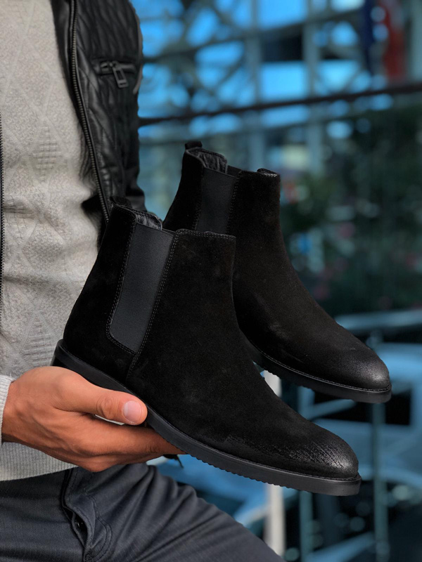 Black Suede Chelsea Boots by GentWith.com with Free Shipping