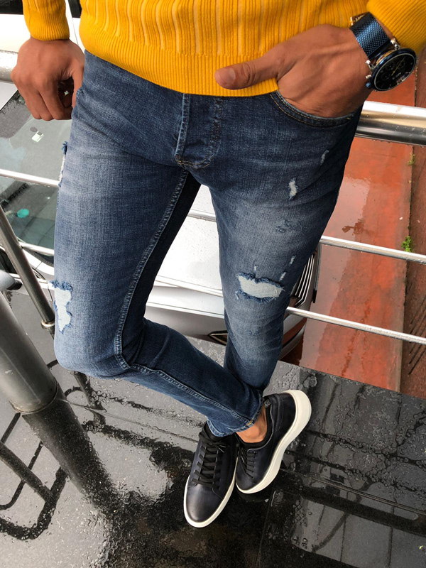 Navy Blue Ripped Jeans by GentWith.com with Free Shipping