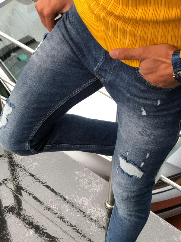 Navy Blue Slim Fit Distressed Jeans by GentWith.com with Free Shipping