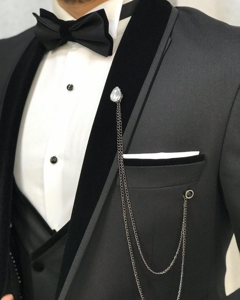 Black Slim Fit Velvet Shawl Collar Tuxedo by GentWith.com with Free Worldwide Shipping