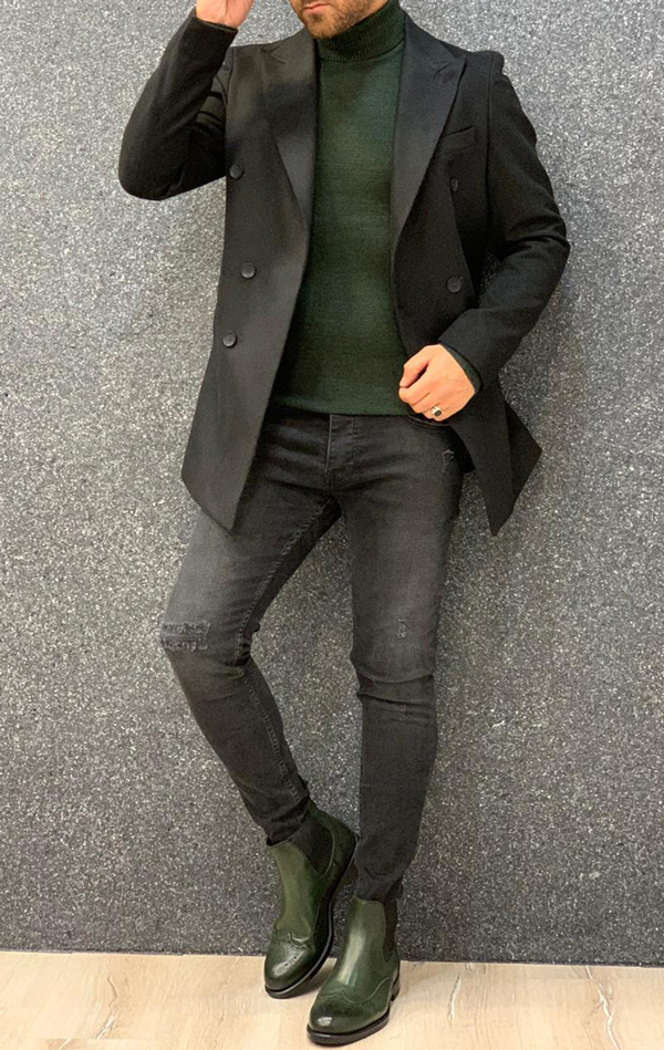Black Long Coat by Gentwith.com with Free Shipping