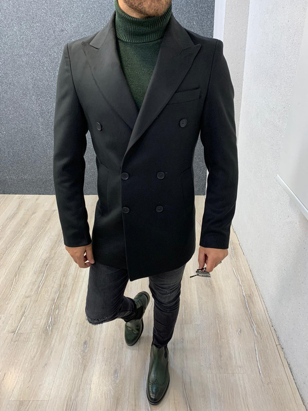 Black Slim Fit Long Coat by Gentwith.com with Free Shipping