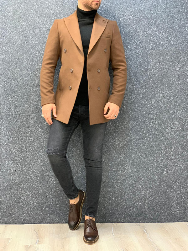 Coffee Slim Fit Long Coat by Gentwith.com with Free Shipping