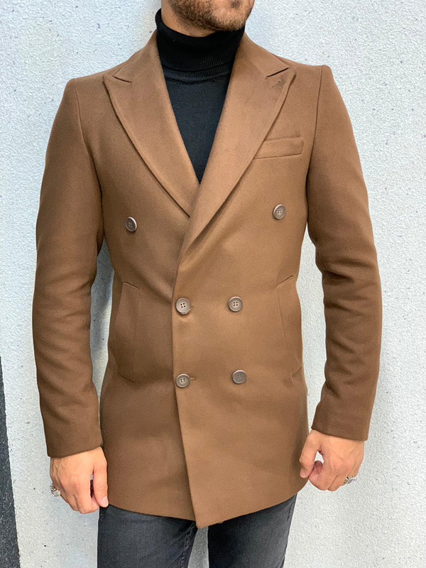 Coffee Long Coat by Gentwith.com with Free Shipping