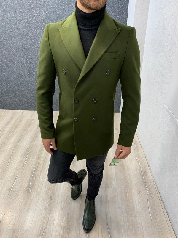 Khaki Slim Fit Long Coat by Gentwith.com with Free Shipping