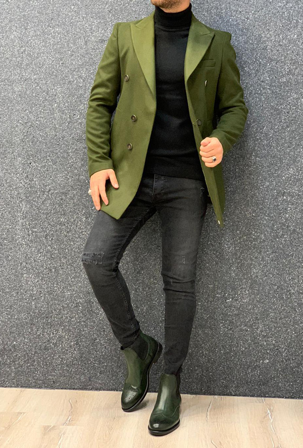 Green Slim Fit Long Coat by Gentwith.com with Free Shipping