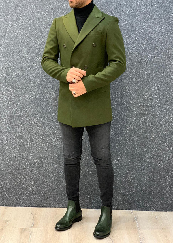Green Long Coat by Gentwith.com with Free Shipping
