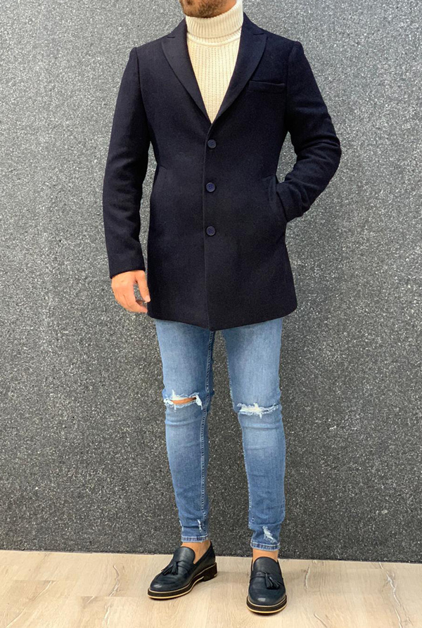 Navy Blue Slim Fit Long Coat by Gentwith.com with Free Shipping