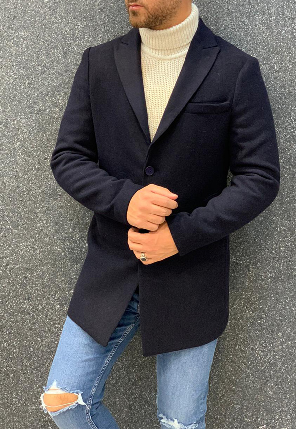Navy Blue Long Coat by Gentwith.com with Free Shipping