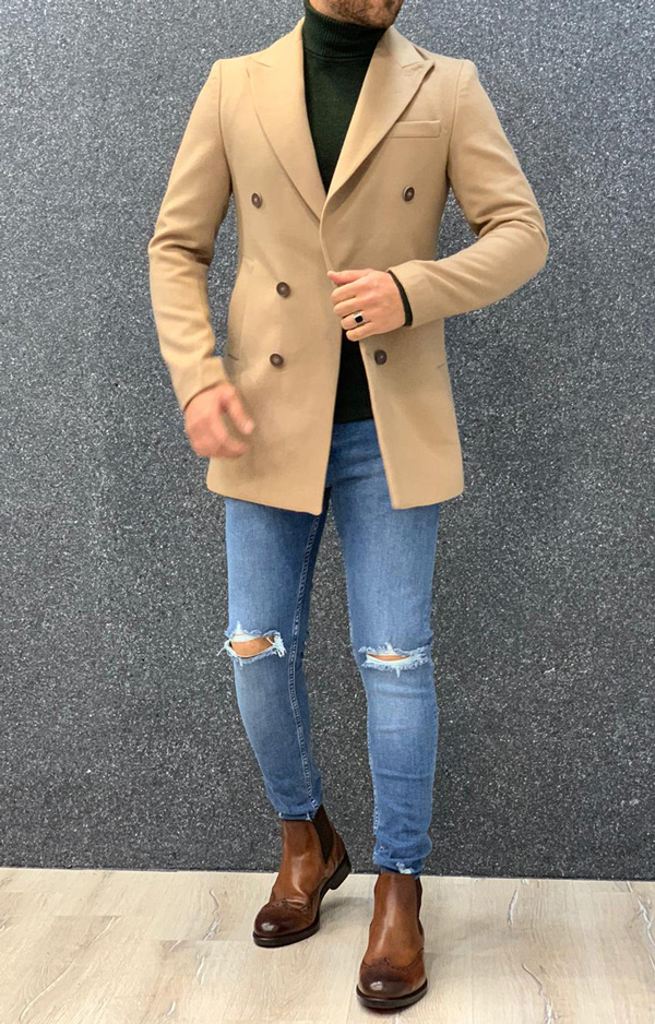 Beige Slim Fit Long Coat by Gentwith.com with Free Shipping